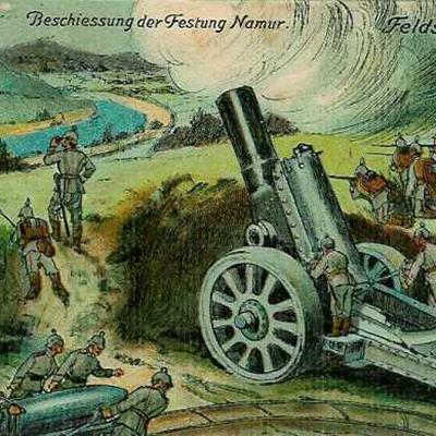 Deutsche Ansichtskarte von der Belagerung von Namur