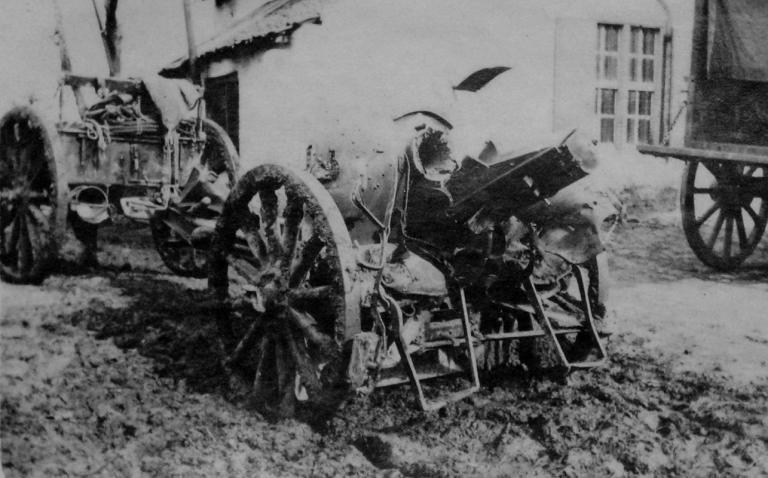 Kanon 10,5cm type Krupp in dienst bij het Belgische leger